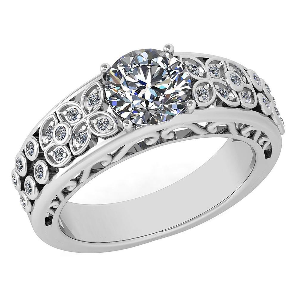 Certified 1.42 Ctw Diamond Wedding/Engagement 14K White Gold Halo Ring (SI2/I1) MADE IN USA