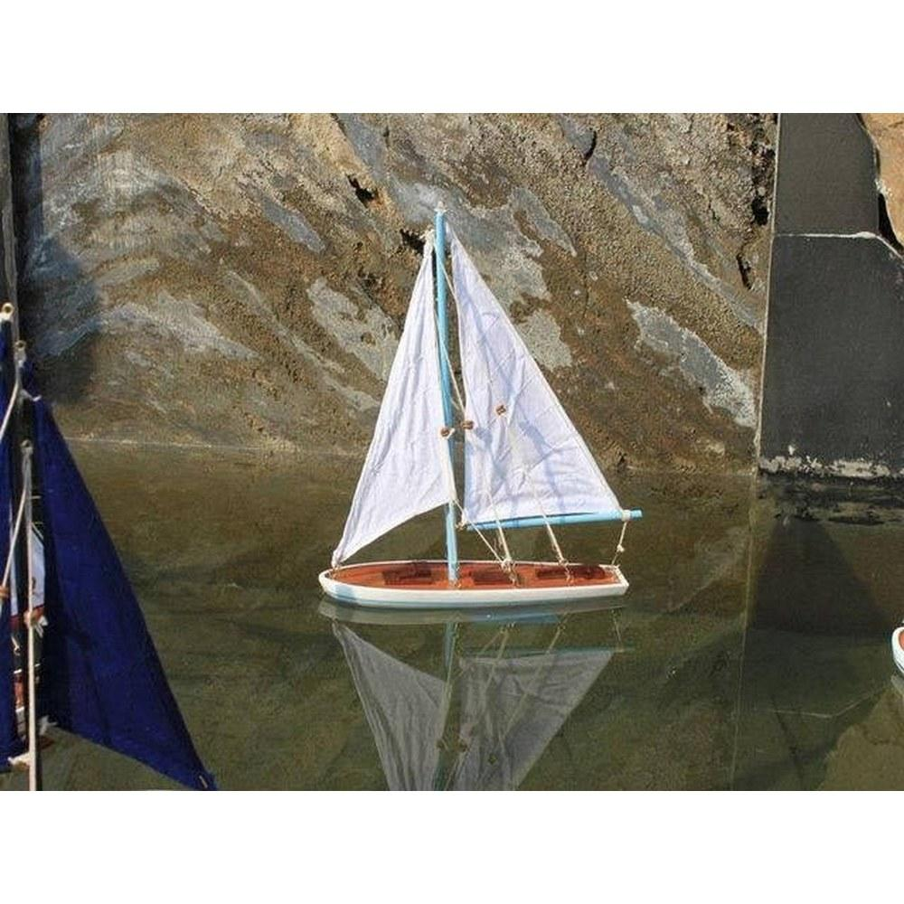 Wooden It Floats 12in. - Light Blue Floating Sailboat Model