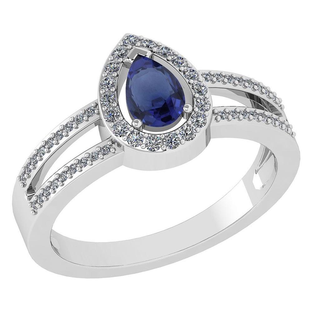 Certified 0.74 CTW Blue Sapphire And Diamond 14k White Gold Halo Ring