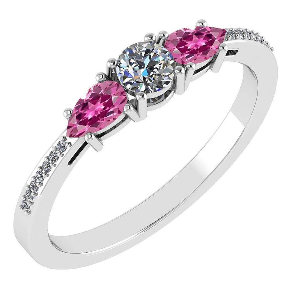 Certified 0.77 Ctw Pink Tourmaline And Diamond 14k White Gold Halo Ring