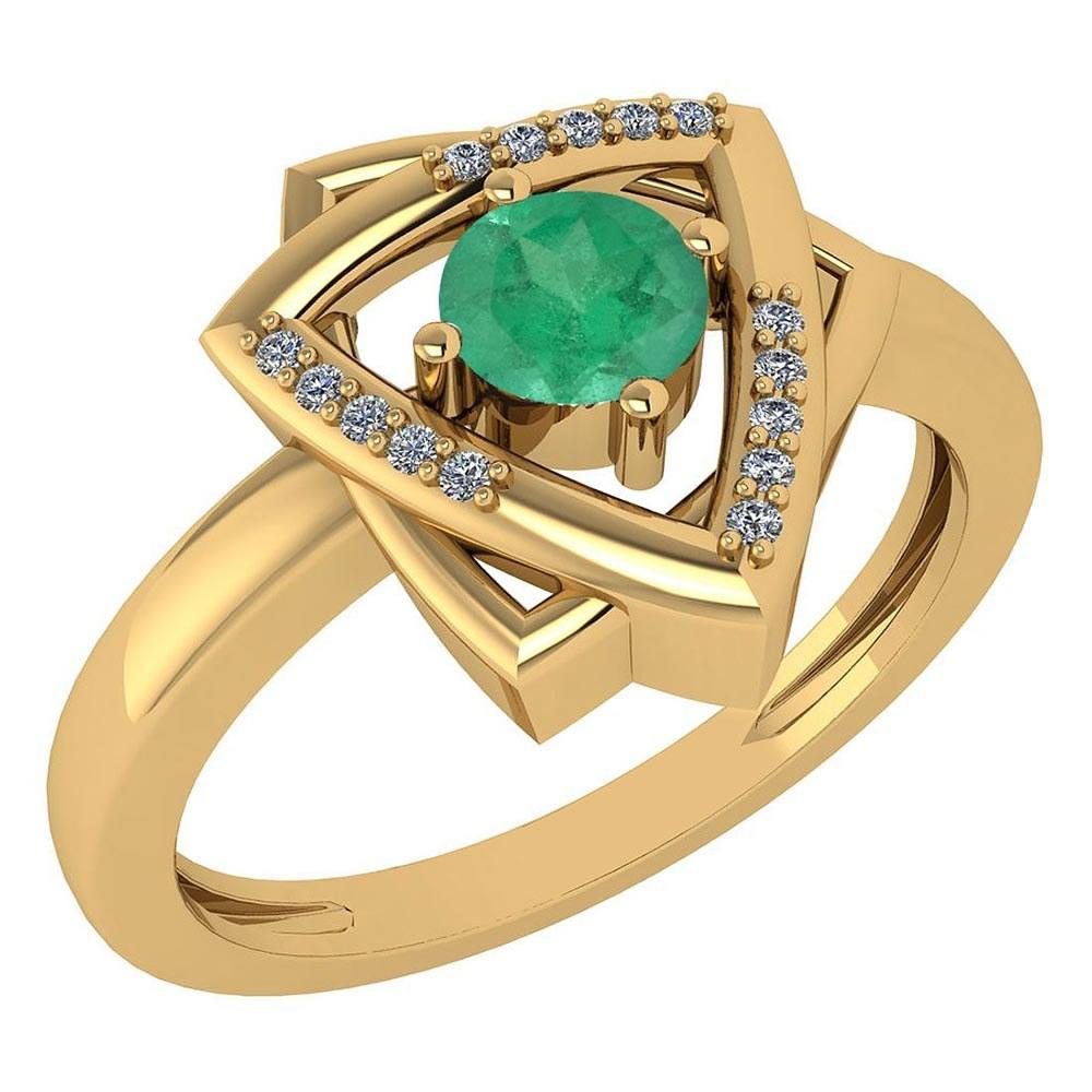 Certified 0.29 Ctw Emerald And Diamond VS/SI1 Halo Ring 14k Yellow Gold Made In USA