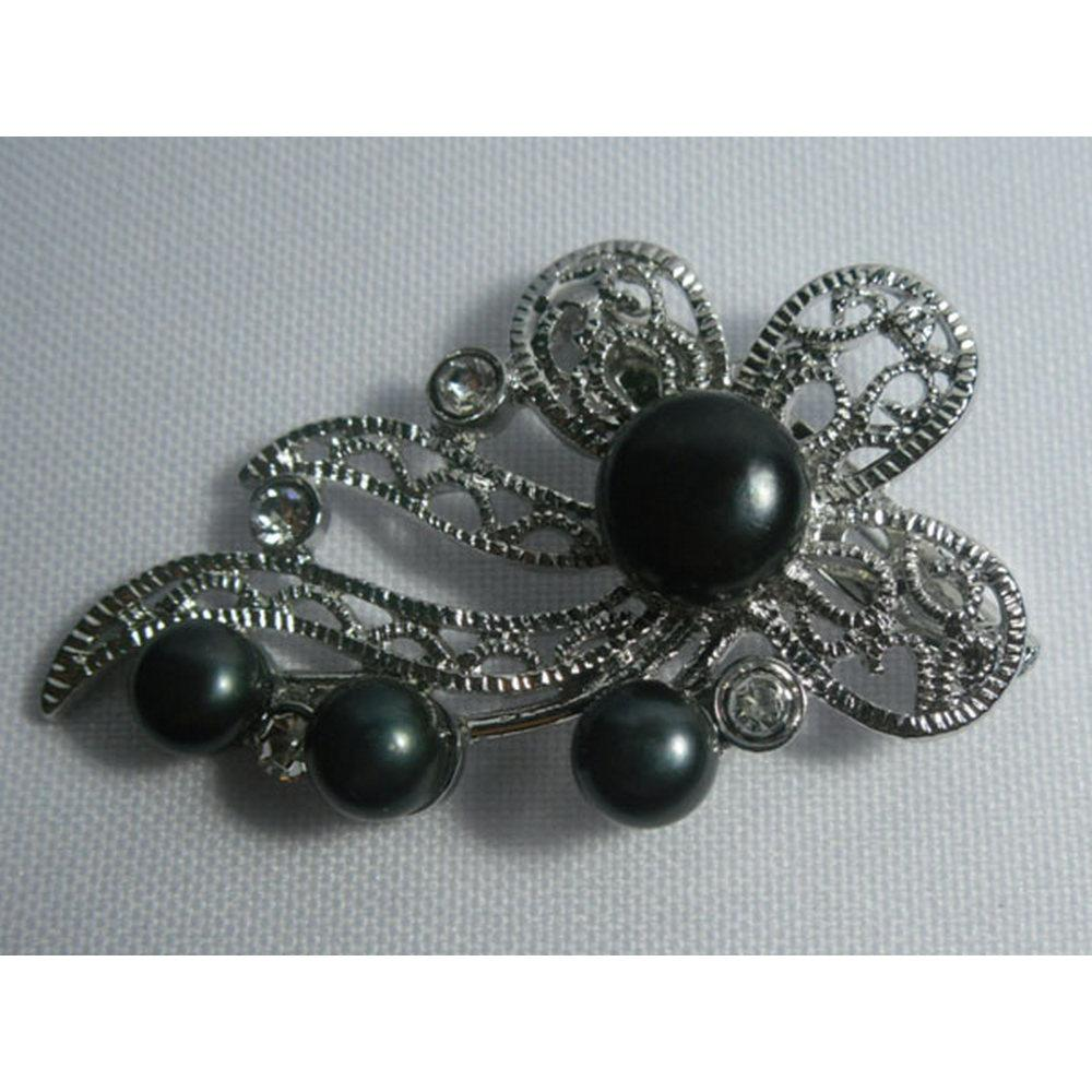 FLOWER BLACK PEARL CZ BROOCH AUTHENTIC PHILIPPINE PEARL