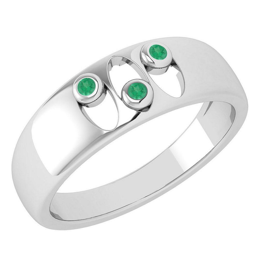Certified 0.04 Ctw Emerald Wedding Style Halo Bands 14k White Gold