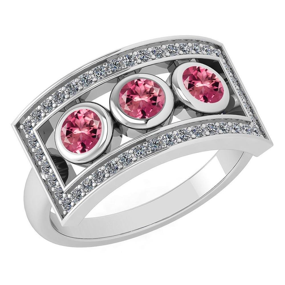 Certified 0.72 Ctw Pink Tourmaline And Diamond Wedding/Engagement Style 14k White Gold Halo Ring (VS/SI1)