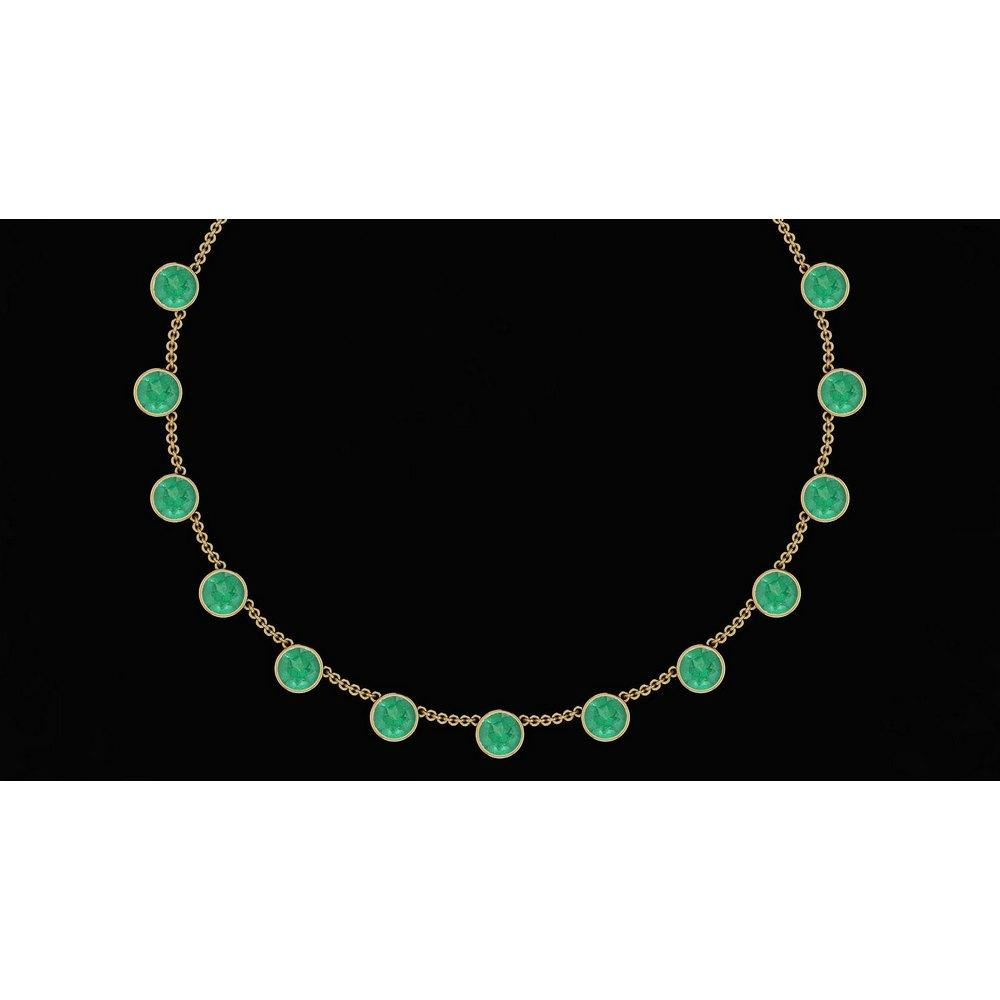 Certified 45.50 Ctw Emerald Necklace 14K Yellow Gold