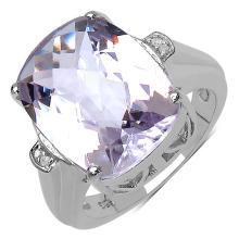 8.77 Carat Genuine Amethyst & White Diamond .925 Streling Silver Ring