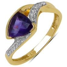 14K Yellow Gold Plated 0.92 Carat Genuine Amethyst & White Topaz .925 Streling Silver Ring