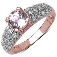 1.66 Carat Genuine Kunzite 14K Rose Gold Plated .925 Sterling Silver Ring