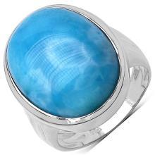 17.05 Carat Genuine Larimar .925 Sterling Silver Ring