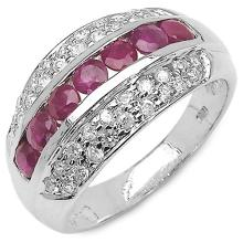 1.36 Carat Genuine Ruby .925 Sterling Silver Ring