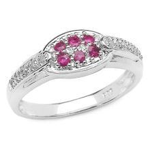 0.33 Carat Genuine Ruby .925 Sterling Silver Ring