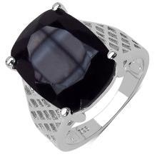 8.05 Carat Genuine Black Onyx .925 Streling Silver Ring