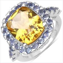 6.41 Carat Genuine Citrine & Tanzanite .925 Sterling Silver Ring