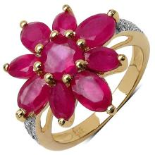 4.79 Carat Genuine Ruby 14K Yellow Gold Plated .925 Sterling Silver Ring