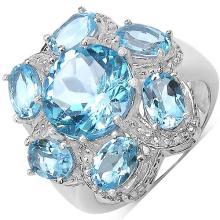 8.40 Carat Genuine Blue Topaz .925 Sterling Silver Ring