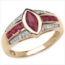 1.29 Carat Genuine Ruby 10K Yellow Gold Ring
