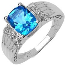 2.09 Carat Genuine Blue Topaz .925 Sterling Silver Ring