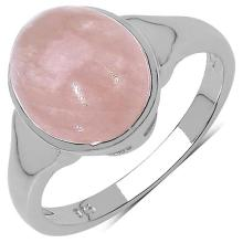 4.20 Carat Genuine Morganite .925 Sterling Silver Ring
