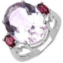 8.95 Carat Genuine Amethyst & Rhodolite .925 Streling Silver Ring