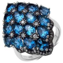 8.73 Carat Genuine Blue Topaz .925 Sterling Silver Ring