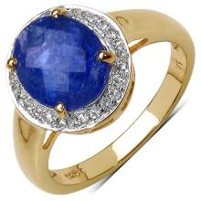 3.08 Carat Genuine Tanzanite 14K Yellow Gold Plated .925 Sterling Silver Ring
