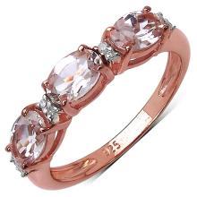 1.40 Carat Genuine Morganite 14K Rose Gold Plated .925 Sterling Silver Ring