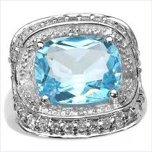 5.32 Carat Genuine Blue Topaz .925 Sterling Silver Ring