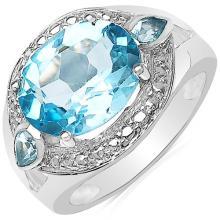5.65 Carat Genuine Blue Topaz .925 Sterling Silver Ring