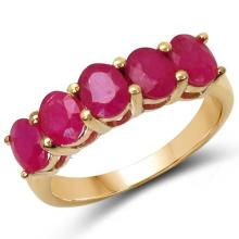 14K Yellow Gold Plated 2.50 Carat Genuine Ruby .925 Sterling Silver Ring