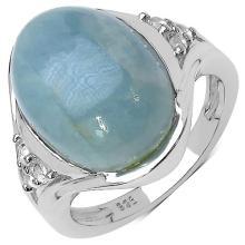 11.95 Carat Genuine Aquamarine .925 Sterling Silver Ring