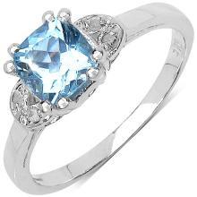1.22 Carat Genuine Blue Topaz .925 Sterling Silver Ring