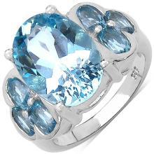 9.60 Carat Genuine Blue Topaz .925 Sterling Silver Ring