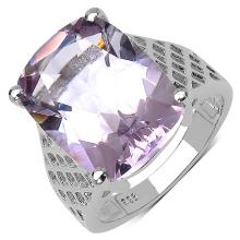 10.00 Carat Genuine Amethyst .925 Streling Silver Ring