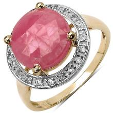 14K Gold Plated 5.40 Carat Pink Sapphire and White Topaz Ring in Sterling Silver