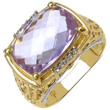 14K Yellow Gold Plated 5.83 Carat Genuine Amethyst & White Topaz .925 Streling Silver Ring