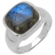 6.30 Carat Genuine Labradorite Sterling Silver Ring
