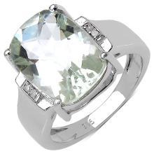 5.62 Carat Genuine Amethyst & White Diamond .925 Streling Silver Ring