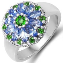 1.03 Carat Genuine Chrome Diopside & Tanzanite .925 Sterling Silver Ring