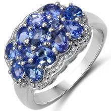 1.77 Carat Genuine Tanzanite .925 Sterling Silver Ring