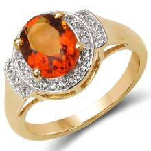14K Yellow Gold Plated 1.99 Carat Genuine Citrine & White Topaz .925 Sterling Silver Ring