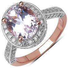 3.96 Carat Genuine Kunzite 14K Rose Gold Plated .925 Sterling Silver Ring