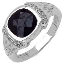 3.15 Carat Genuine Black Spinel & White Topaz .925 Streling Silver Ring