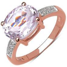 2.96 Carat Genuine Kunzite 14K Rose Gold Plated .925 Sterling Silver Ring