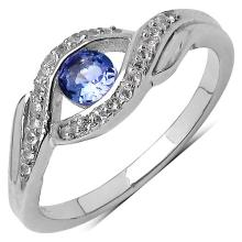 0.34 Carat Genuine Tanzanite .925 Sterling Silver Ring