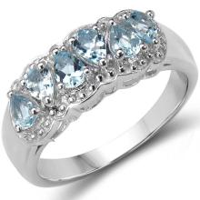 1.20 Carat Genuine Blue Topaz .925 Sterling Silver Ring