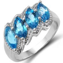 2.46 Carat Genuine Blue Topaz .925 Sterling Silver Ring
