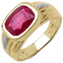 14K Yellow Gold Plated 3.50 Carat Genuine Ruby .925 Sterling Silver Ring