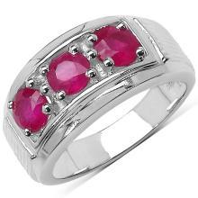 1.80 Carat Genuine Ruby .925 Sterling Silver Ring