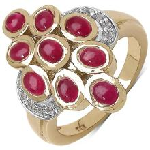 3.08 Carat Genuine Ruby 14K Yellow Gold Plated .925 Sterling Silver Ring