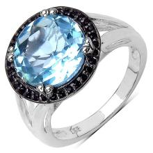 5.40 Carat Blue Topaz and Black Spinel Ring in Sterling Silver